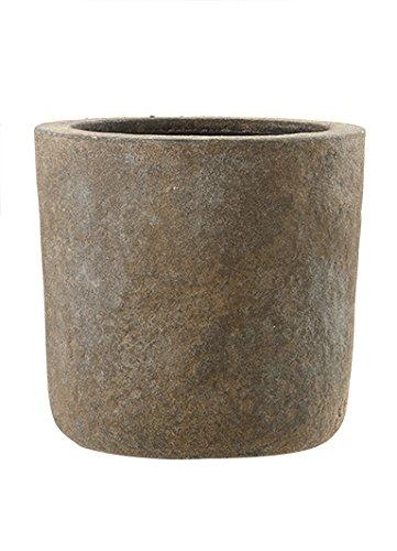 Emsa 8519831837 Fiberglas Blumenkübel Pflanzkübel Galway braun, Old Stone (37 x 37 cm)
