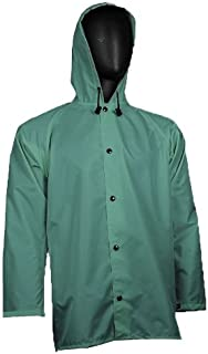 """product image for WaterShed 637011-GR-MED StormCreek Polyurethane Coated Nylon Waterproof Jacket with Attached Hood and Cuff Snaps, 32"""" Length, Medium, Forest Green"""