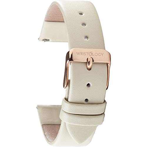 Wristology Quick Release Genuine Leather Easy Change Band Strap 18mm (Beige)