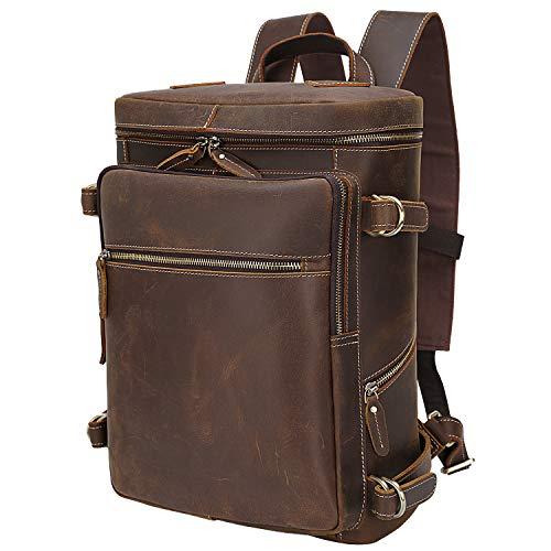 TIDING echtes Leder Rucksack Herren 15,6 Zoll Laptop-Tasche für Männer Trolly Strap, große Kapazität Braun Daypack Schulbuchtasche Laptoprucksack Tote