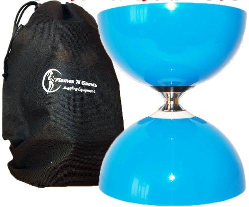 Sundia Fly Large Axe Roulement Billes Pro Diabolo (Bleu) + Sac de Transport. *Pas de Diabolo Baguettes ou Ficelle Diabolo Inclus.