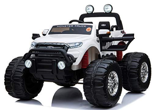 Ford Ranger Monster Truck wit, 4x4, softstart, bluetooth,12V10ah accu, kinderauto, elektrische auto, elektrische kinderauto