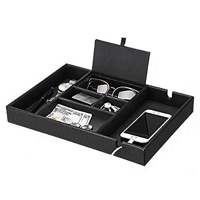 BEWISHOME Valet Tray for Men Dresser Organizer Nightstand Organizer Desktop Storage Organizer with Large Smartphone Charging Station, 6 Compartments, Carbon Fiber Faux Leather,Black SSH16C