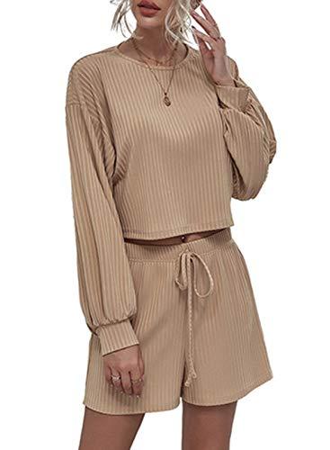 CORAFRITZ Conjunto de 2 piezas de punto para mujer con manga