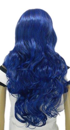 Qiyun Longue Bleu Ondule Boucle Resistant a la Chaleur Fibre Synthetique Cheveux Complete Cosplay Anime Costume Perruque
