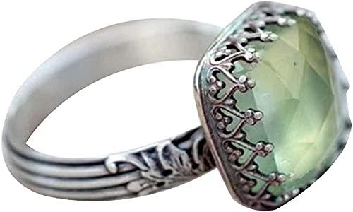 ADIS Anillo de joyería para mujer, vintage, con incrustaciones de piedras preciosas de imitación esmeralda, regalo de boda, mejor regalo para el amor con el día de San Valentín - US 10