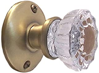 Rousso Reproduction Single Dummy Crystal Clear Fluted Glass Knob-Non-Turning Faux Surface Mount for One Side of Closet, Pantry, French Door. Classic Vintage Design for Home or Office (Antique Brass)