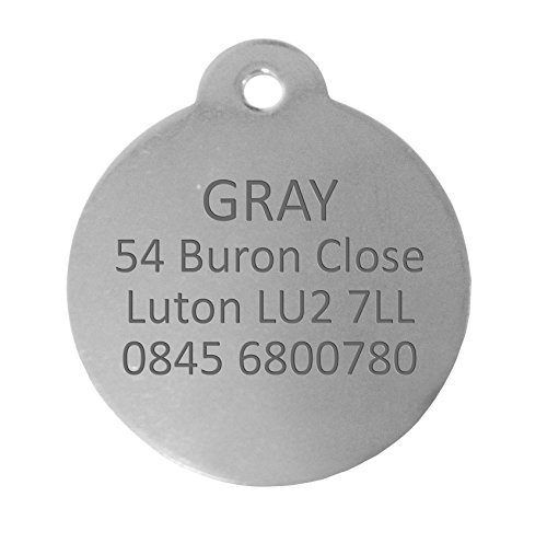 Personnalisé Médaille pour Chien en Acier Inoxydable de Forme Ronde (Grand) | Service DE Gravure | Médaille pour Animal Domestique Personnalisée avec Gravure Laser