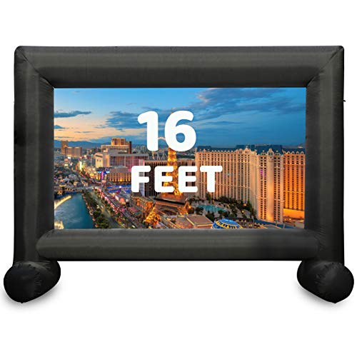 TKLoop 16 Feet Inflatable Movie Screen Indoor and Outdoor, Blow Up Projector Screen - Includes Inflation Fan, Tie-Downs and Storage Bag - Supports Front and Rear Projection