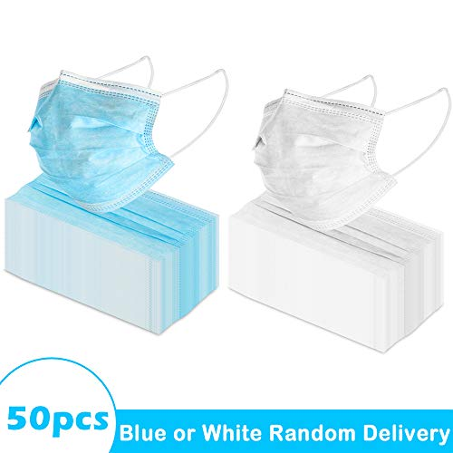 73pcs 3-Ply Disposable Face Mask Can be Used in Offices, Households Sensitive to Pets, and Crowded Places, with Elastic Earloop Random Color (Blue or White)