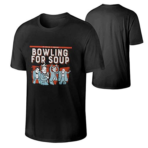 Yotoget Men Bowling for Soup Music Band Breathable Aid Short Sleeves Cotton Tee Gift,Black,4X-Large