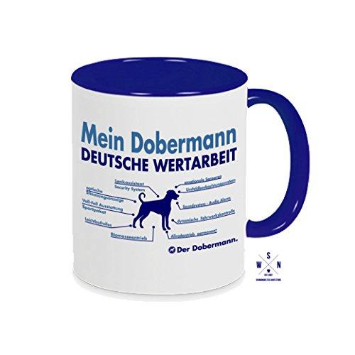 Siviwonder Tasse Kaffeebecher Dobermann unkupiert Innovation Teileliste Hund Hunde Fun blau