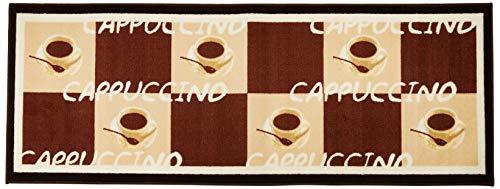 Andiamo Küchenläufer im Coffee Design-Kurzflor Läufer aus 100% Polyamid waschbar-Cappuccino 67 x 180 cm Teppich
