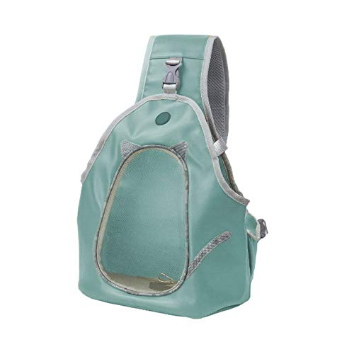 HUANGRONG Pets Sling Carrier PU Bag Breathable Cat Pets Chest Backpack Outdoor Walking Pets Puppy Dog Shoulder Sling Bag For Small Dog Cat (Color : Grey Blue, Size : S)