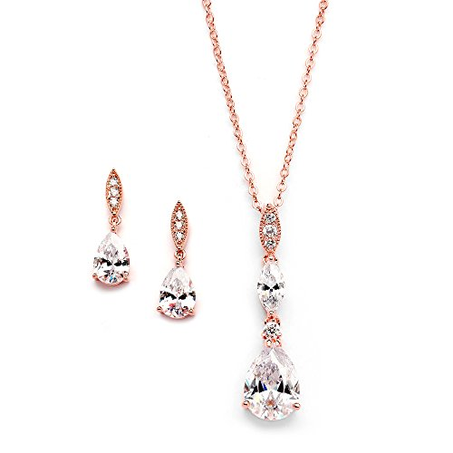 Mariell 14K Rose Gold Plated Teardrop CZ Wedding Necklace and Earrings Set for Bridal or Bridesmaids