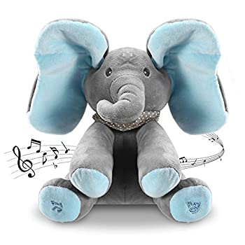 Moclever 12Inch Stuffed Plush Elephant Doll Peek Boo Musical Elephant Animated Talking Singing Cute Elephant Baby Doll Toy for Toddlers Kids Boys Girls Gift  Blue