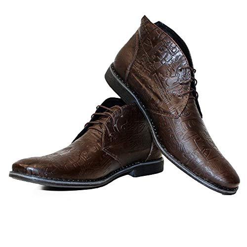 PeppeShoes Modello Yalloka - EU 43 - US 10 - UK 9-28 cm - Handgemachtes Italienisch Bunte Herrenschuhe Lederschuhe Herren Braun Stiefeletten Chukka Stiefel - Rindsleder Geprägtes Leder - Schnüren