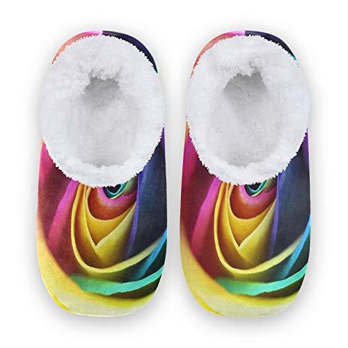 Rxyy - Zapatillas de estar por casa para mujeres y hombres, unisex, para invierno, cálidas, pantuflas con calcetines Fuzzy, para el dormitorio, multicolor, 36/37 EU