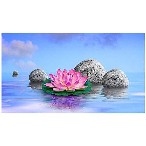 DIY 5D kit de pintura de diamantes por números Zen Lotus y patrón de piedra...