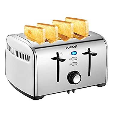 Aicok Toaster, 4-Slice Toaster with 7 Browning Control, Defrost/Bagel/Cancel Function, Extra Wide Slots, Removable Crumb Tray, Smooth Stainless Steel, 1500W, Silver