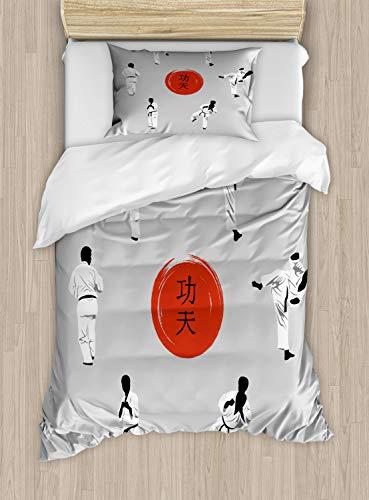 ABAKUHAUS Kung Fu Funda Nórdica, Los Hombres en los Movimientos de Karate de Ropa, Decorativo, 2 Piezas con 1 Funda de Almohada, 130 cm x 200 cm, Gris pálido Vermilion