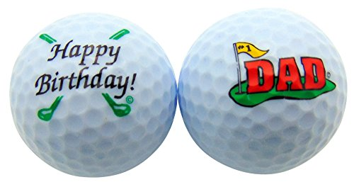 Westmon Works Happy Birthday Dad Golf Ball Set of 2 Golfer Gift Pack