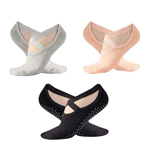 LIOOBO 3 Pares de Calcetines de Yoga Calcetines de Agarre para Yoga Danza Barre Pilates Ballet
