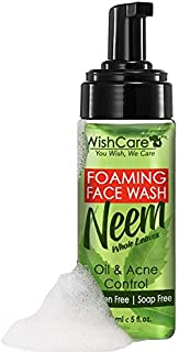 WishCare® Foaming Neem Face Wash with Neem Whole Leaves - For Oil and Acne Control - Paraben and Soap Free - 150 Ml