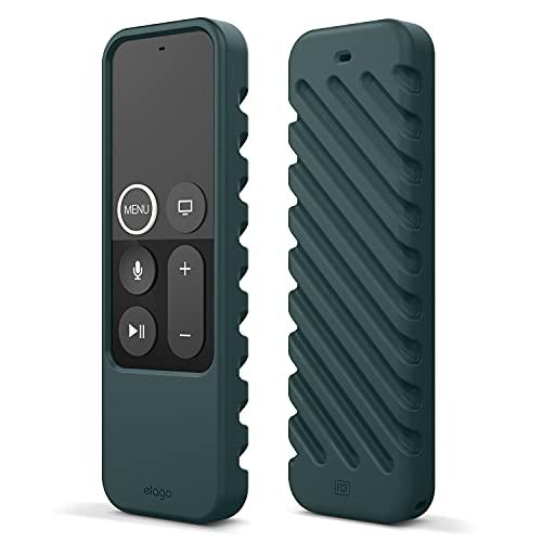 elago R3 Fernbedienung Hülle Hülle Kompatibel mit Apple TV Siri Remote 4K (5.) / 4. Generation Schutzhülle - Extra Schutz, Handgelenkschlaufe Inbegriffen (Nachtgrün)