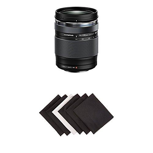 Olympus 14-150mm f/4.0-5.6 II Lens for Micro Four Thirds Cameras (Black) w/ Amazon Basics Microfiber Cloths