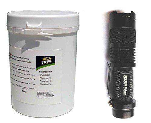 Fluorescein Dinatriumsalz/Uranin (100 g) + UV-Lampe - Fluoreszenz-Komplettset – z. B. zur Leckortung