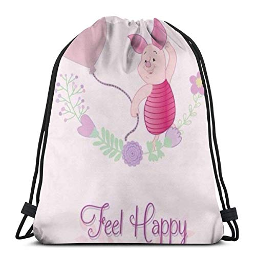 zicheng Classic Drawstring Bag-Feel Happy Piglet Gym Backpack Shoulder Bags Sport Storage Bag for Man Women
