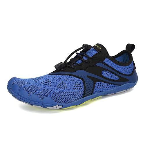 COOPCUP Hombres Zapatos de deportes acuáticos Aqua Al aire libre Escalada y Vadeo Descalzo Sandalias Mar Transpirable Zapatos de Playa Zapatillas, negro (Azul / Patchwork), 38.5 EU