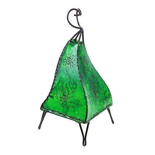 Orientalische Lampe Stehlampe marokkanische Hennalampe Lederlampe Tischleuchte Stehleuchte Orient Mellah Sonne 40 cm Color Grün
