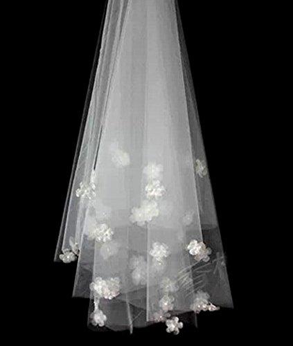 élégant broderie de dentelle de mariage voile de mariée, blanc / 2 mètre