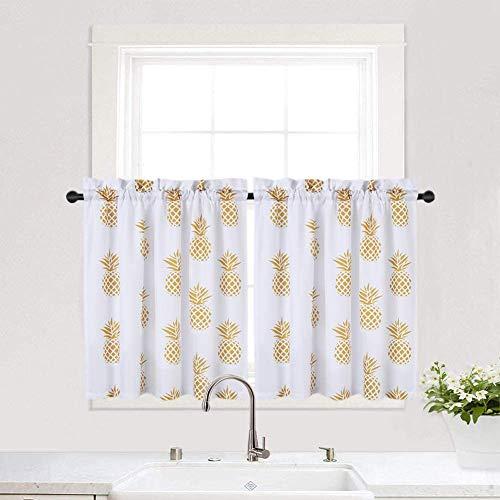 LinTimes - Cortinas pequeñas para ventana de verano, cocina, baño, diseño de estrella de mar y piña, tela, Amarillo, 2 x W 30
