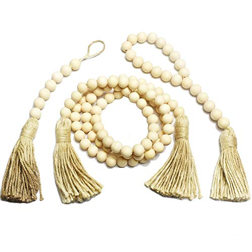 EasyBravo Wood Bead Garland Set of 3, Rustic Farmhouse Beads with Tassels Wall Hanging Décor,3 Style