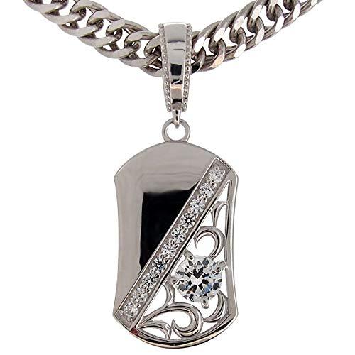 [プレジュール]喜平ネックレス ホワイトコーティング シルバー メンズ ダイヤモンド ペンダント