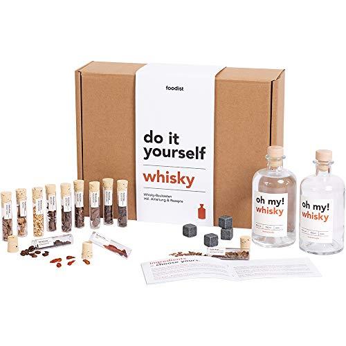 Foodist Whisky Infusion Baukasten | Geschenk mit Ansatzalkohol 40% | 12 hochwertige Botanicals & Holzchips | DIY Kit | Whiskey Set mit Steinen zum Experimentieren für Männer und Frauen inkl. Rezepte