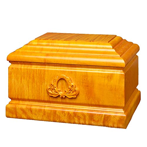 LXYLXY Protect The Life Box Urns for Human Ashes, Adult Cremation Urns Keepsake jar, Soulmates Together Forever Love (Gold Wire Nanmu, 400 Cubic Inches) Funeral Supplies