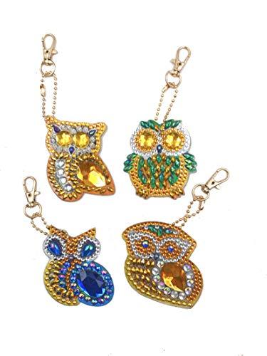 EIYUN 4 Pcs Diy Diamond Painting Keychain Kit for Kids Adults Handmade Full Drill Animal Owl Keyring
