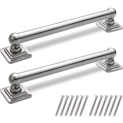 AmeriLuck Decorative Grab Bar, ADA 500LBS Loading Capacity, Chrome (Quad 12in   2 Pack)