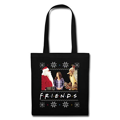 Spreadshirt Friends Pull Moche De Noël Monica Santa Tatou Sac En Tissu, noir