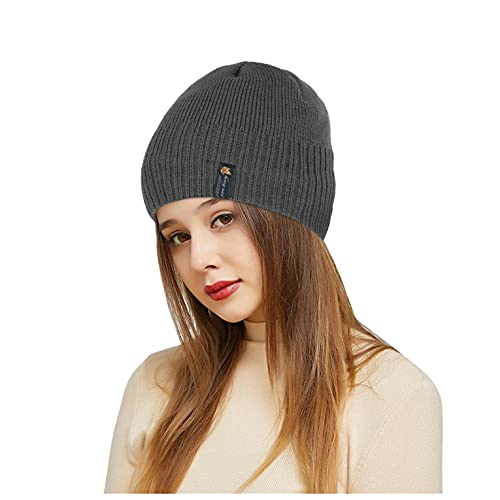 LULUZ Adult Knit Beanie Women Man's Outdoor Sports Cap Solid Color Winter Keep Warm Plush Hats Baggy Soft Comforty Running Hats Dark Gray