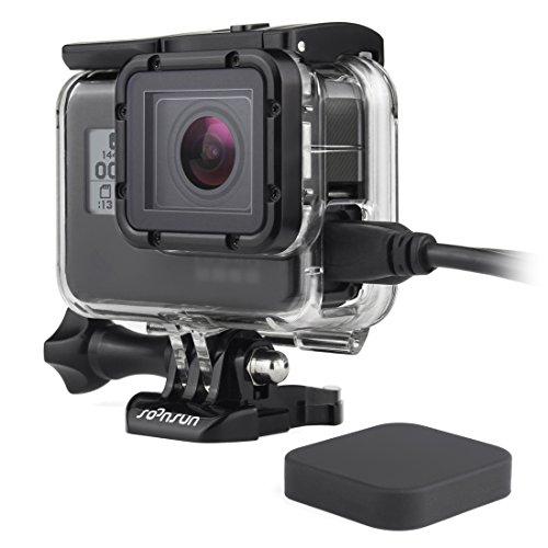 SOONSUN Side Open Protective Skeleton Housing Case for GoPro Hero 5 6 7 Black Hero (2018) Cameras - Includes Quick Release Buckle, Thumb Screw, Lens Cap