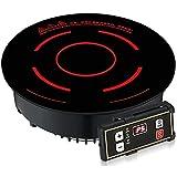 KISAD Placas de Cocina Portátiles Cocina de inducción Redonda Comercial Embedded Fire Biedring 1600W Línea táctil Control de línea Horquino de Onda de la luz de la Olla