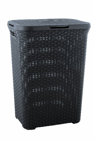 CURVER | Coffre à linge 60L - Aspect rotin, Anthracite, Laundry Hampers & Baskets, 44,8x34,1x61,5 cm