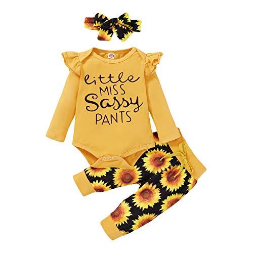 CARETOO Kleinkind Baby Mädchen Bekleidungsset Rüschen Schulter Top + Floral Pants Kleidung Sets mit Stirnband