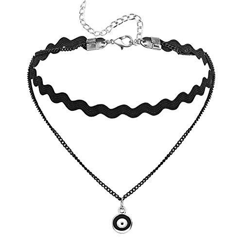 Adokiss Gargantilla de encaje con botón colgante, estilo punk rock, color blanco y negro, longitud 31 + 7,7 cm, para adolescentes y mujeres