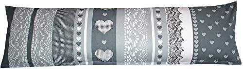Heubergshop Baumwoll Renforcé Seitenschläferkissen Bezug 40x145cm - Love Liebe Herzen in Anthrazit und Grau - Öko-Tex 100% Baumwolle Stillkissenbezug (386-2-B)